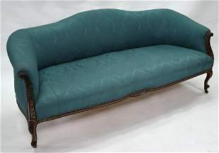 A late 19th century turquoise upholstered sofa