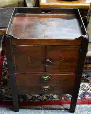 A Georgian mahogany tray top commode