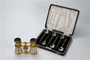 A pair of 19th century French opera glasses and a set