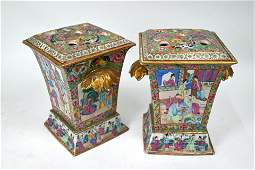 A pair of 19th century Chinese famille rose vases and