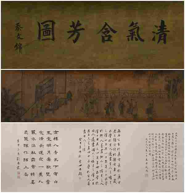 Ming dynasty Chou ying's calligraphy painting scroll