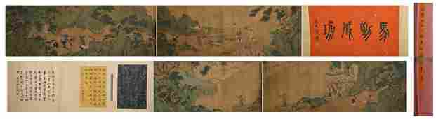 Ming dynasty Qiu ying's landscape and figure painting