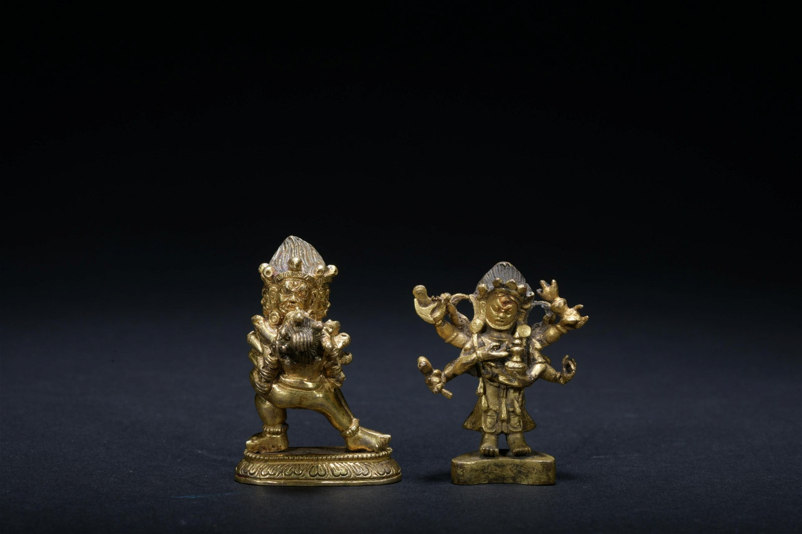 Qing dynasty gilt bronze Inch Buddha 1*set