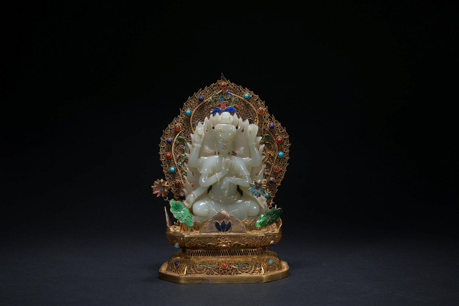 Qing dynasty gilt silver cloisonne jade Gwan yin