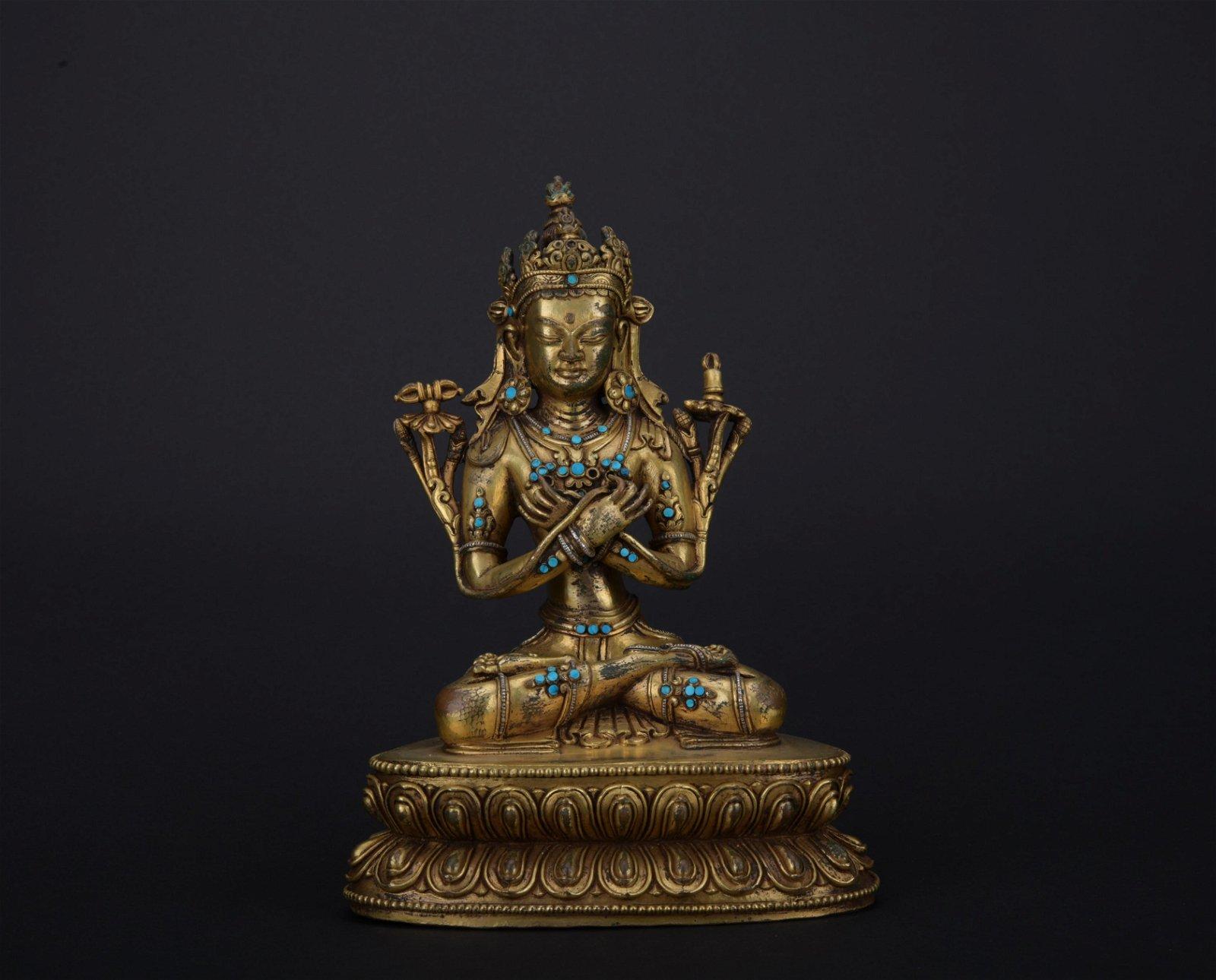 Qing dynasty gilt bronze statue of Green Tara