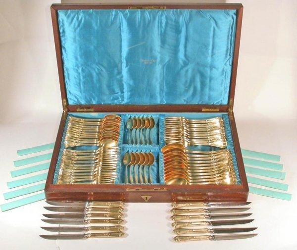 101: Tiffany 19C Sterling Silver Gilt Flatware for 12