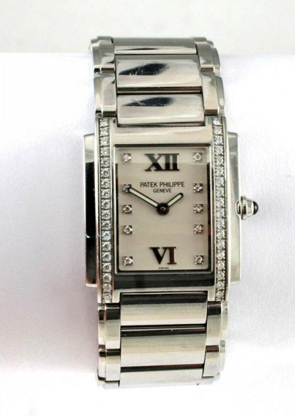 103: Patek Phillipe Stainless Steel Diamond Watch