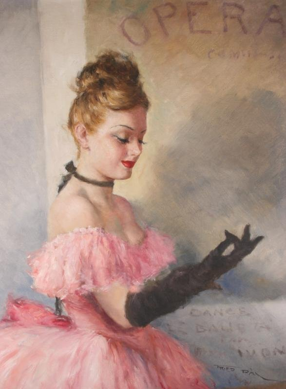 104: Pal Fried Oil Painting Paris Opera Girl 30X24