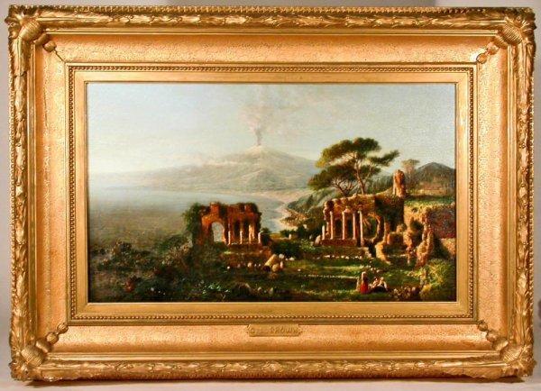 110: 1868 Hudson River School Painting GL Brown