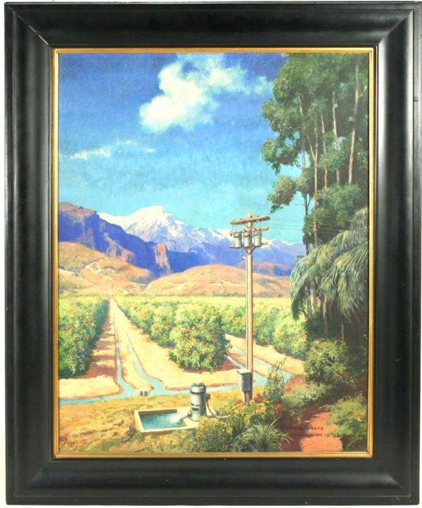 112: Oil Painting California Orange Groves WL Greene