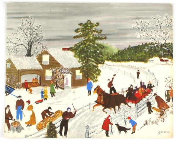 114: Signed Grandma Moses Christmas Card