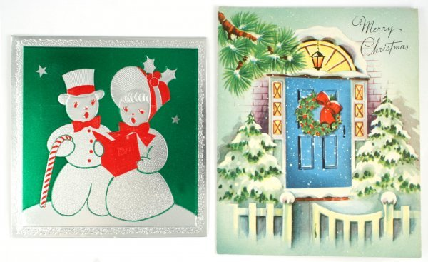 116: 2 Christmas Cards Signed by Grandma Moses