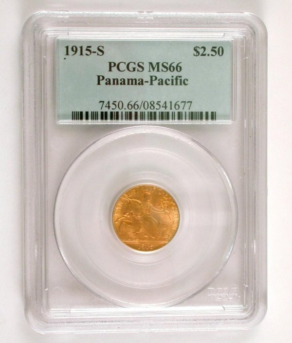 201: 1915-S $2.50 Gold Panama Pacific, PCGS MS66