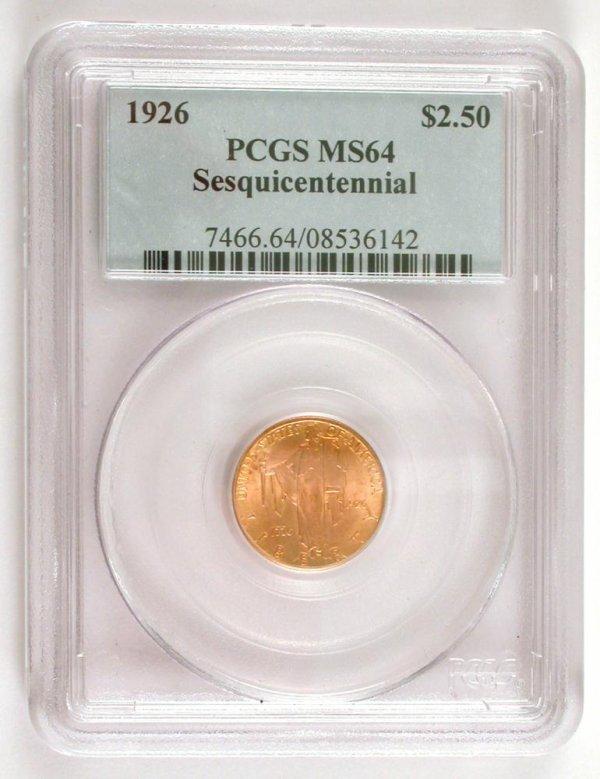 203: 1926 $2.50 Gold Sesquicentennial