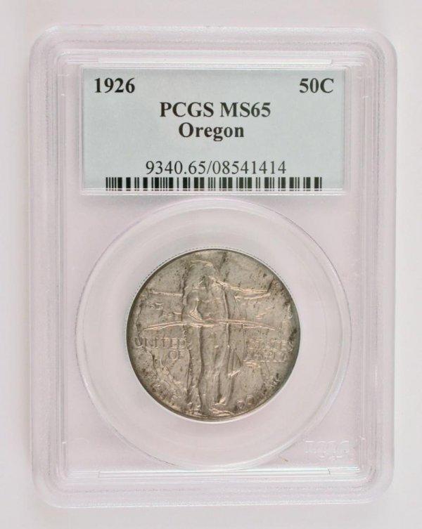 206: 1926 50 Cent Silver Oregon Trail Memorial Silver