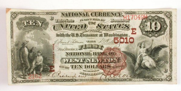 308: 1882 Series $10 Bill National Currency