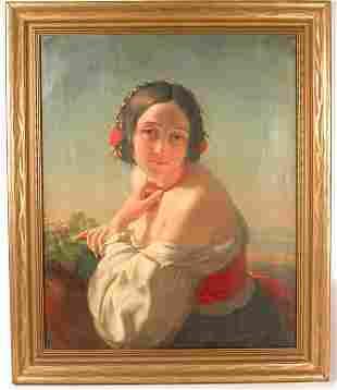 """Oil Young Woman G Guffens 1848 20 1/2"""" X 16 7/8"""""""