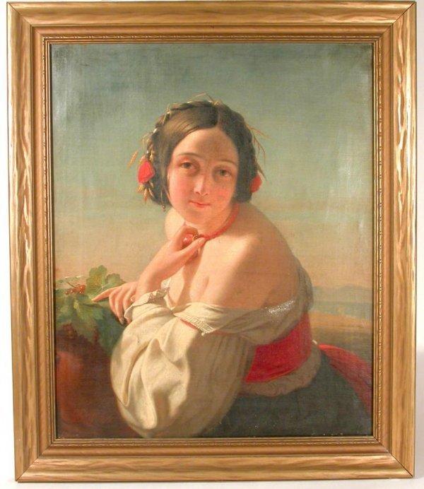 """1102: Oil Young Woman G Guffens 1848 20 1/2"""" X 16 7/8"""""""