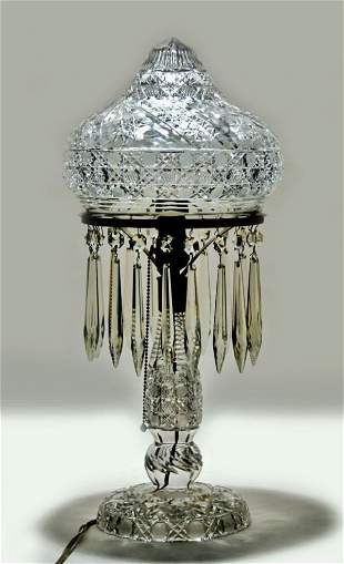 American Brilliant Period Cut Glass Table Lamp