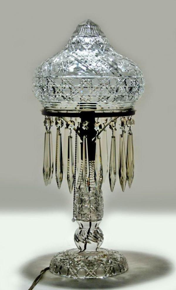 1105: American Brilliant Period Cut Glass Table Lamp