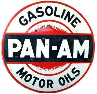Pan-Am Gas & Motor Oil 6 Ft Porcelain Steel Sign