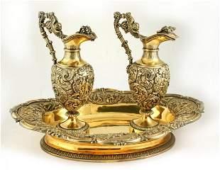 19thC Ornate French Silver Gilt Cruet Set