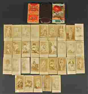 19thC Cigarette Photo Actress Cards w/ Nudes