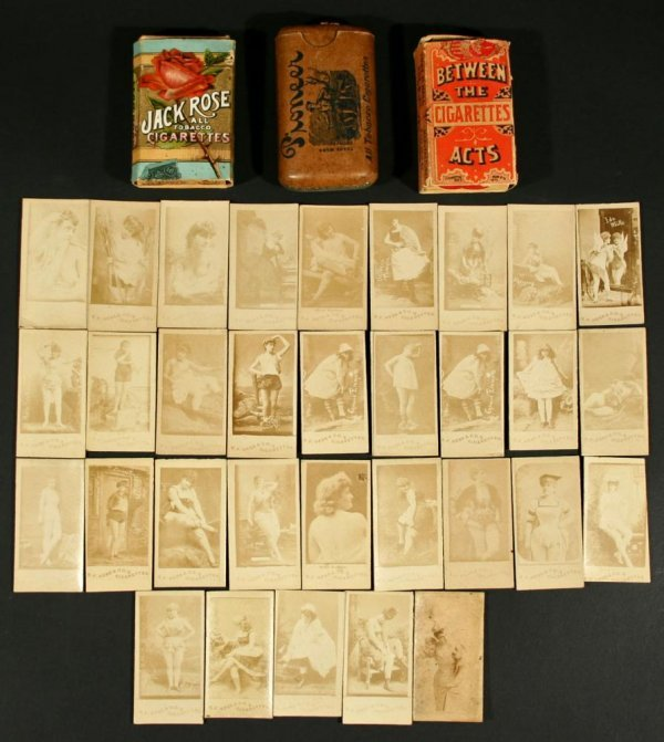 1112: Many 19thC Cigarette Photo Actress Cards w/ Nudes