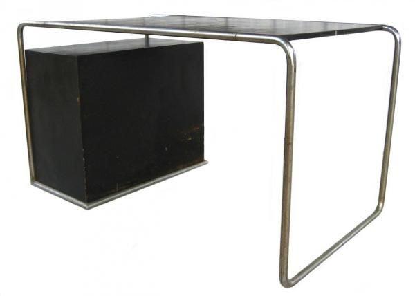 101: Marcel Breuer Thonet Bauhaus Steel & Wood Desk - 2