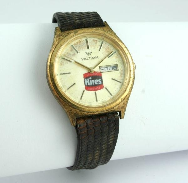 808: Hires Root Beer Waltham Day Date Wristwatch