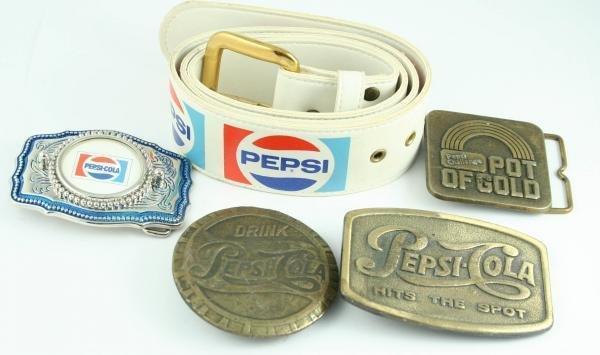 820: 4 Pepsi-Cola Belt Buckles & Belt