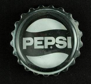Pepsi-Cola Etched Glass Bottle Cap Paperweight