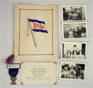 825: Pepsi-Cola 1941 Banquet Archive w/ Photos, Badge