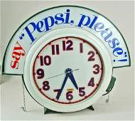 942: Pepsi-Cola Huge Vintage Adv Neon Wall Clock