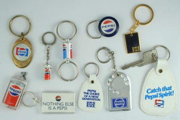 511: 1980s-90s Pepsi-Cola Key Ring Fob Lot
