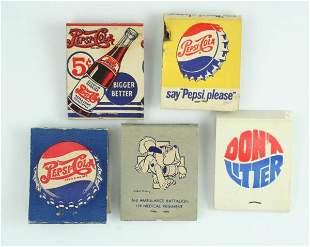 1940s-50s Pepsi-Cola Matchbook Lot Incl Double Dot