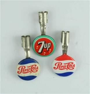 3 1950s Pepsi-Cola Pen / Pencil Mounts Clips