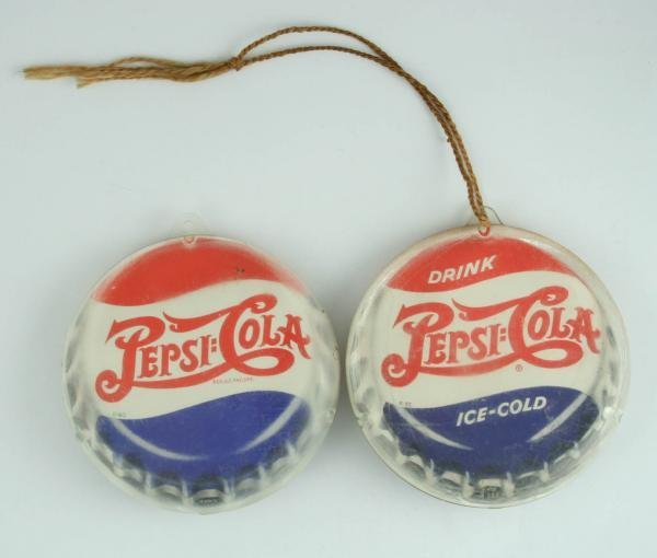 522: 2 1940s Pepsi-Cola Double Dot Hanging Fan Pulls
