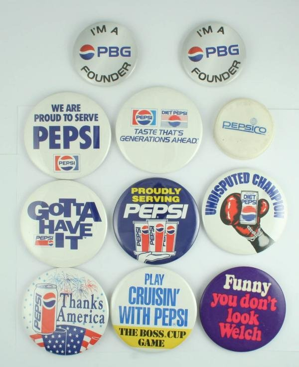523: 1980s-90s Pepsi-Cola Pinback Button Lot