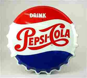 600: Pepsi-Cola Lg Steel Bottle Crown Button Adv Sign