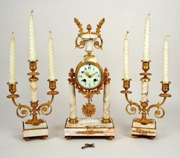 1: 19thC Mougin France Bronze Dore Marble Clock Set