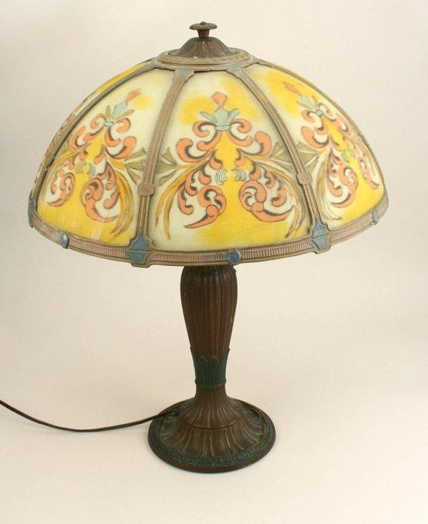 2: Rainaud Reverse Ptd Glass Shade Table Lamp C1910