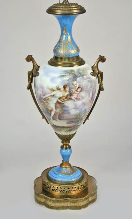 4: Continental Hd Ptd Porcelain Lamp L Bertren C1900