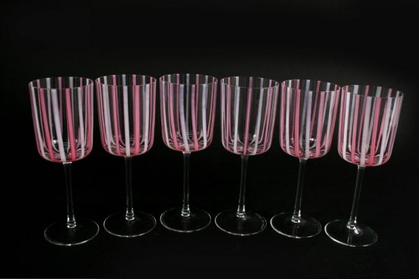 5A: Set 6 Cenedese Art Glass Wine Goblets for Asprey