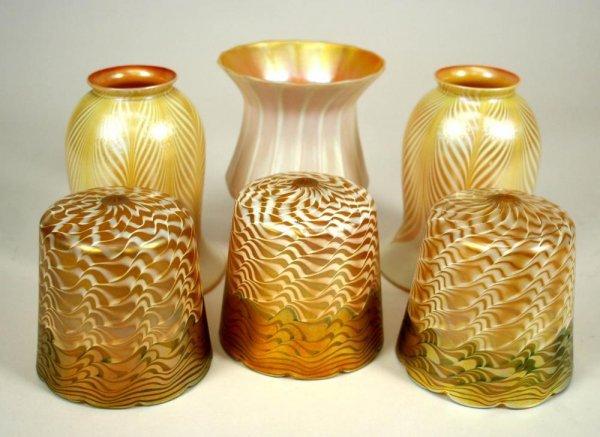 6: 6 American Art Nouveau Glass Lamp Shades C1900