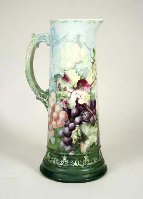 7: CAC American Belleek Hd Ptd Porcelain Pitcher