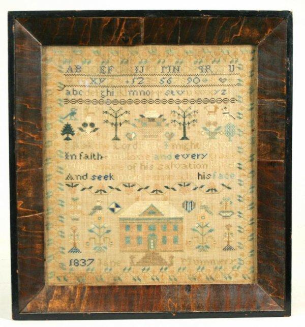 8: 1837 Schoolgirl Sampler, Deerfield NY
