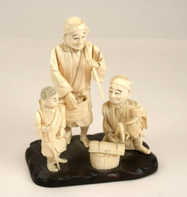 8A: Meiji Japanese Carved Ivory Figural Group, 19thC