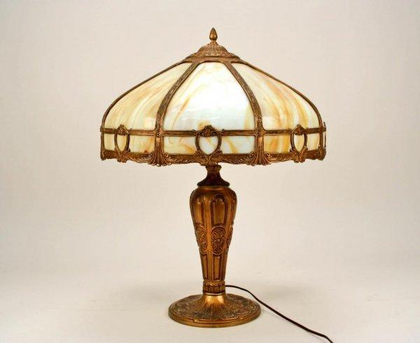 10: American Slag Glass Panel Parlor Lamp, Circa 1910