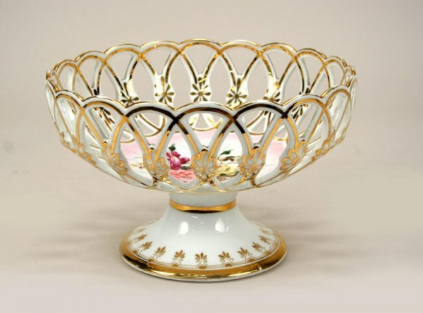 11: CT Tielsch Dresden Porcelain Pierced Compote